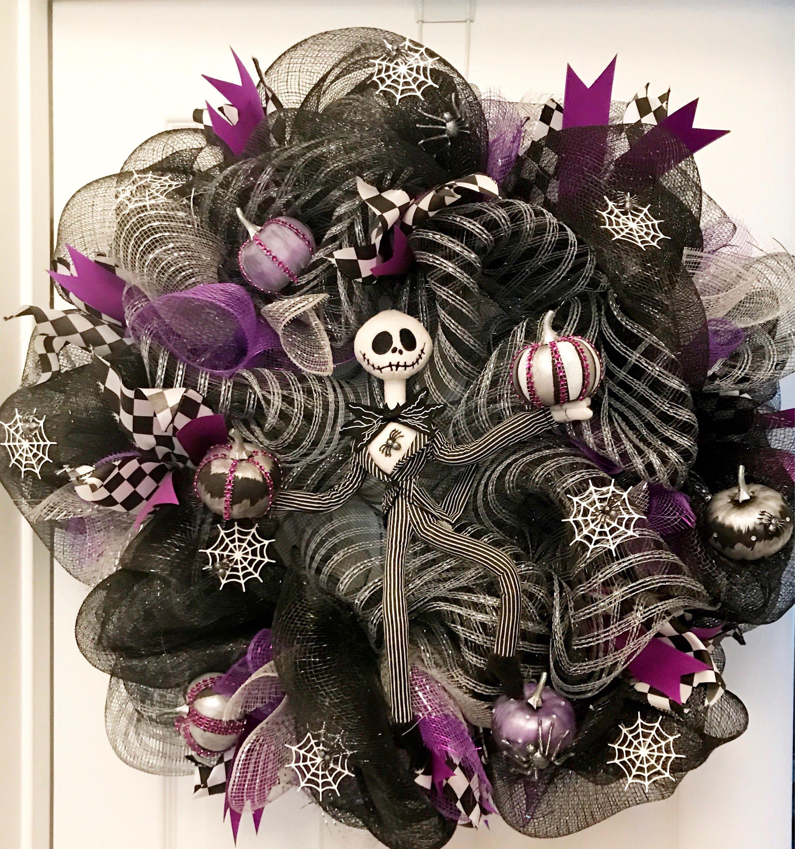 Jack Skellington Wreath,Halloween wreath, nightmare before christmas ...