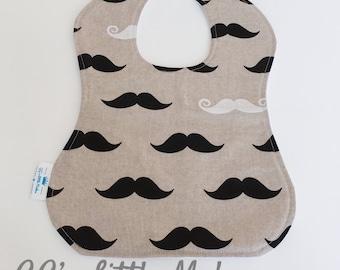 Moustache full bib, Vintage look bib, Wedding bib, Baby bib, Toddler bib, Traditional bib, drool bib, Large Bib, Occasion bib