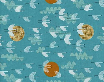 Lawn Quilt Cranes Dawn - Cotton + Steel Fabric - Cotton Lawn Fabric - Japanese Fabric - Blue Bird Fabric - C+S Fabric