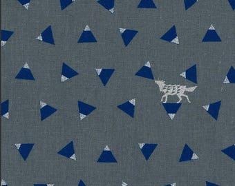 Japanese Linen Canvas - Kokka Fabric - Echino 2018 Triangle in Blue - Metallic Canvas Fabric - Half Yard (about 50cm) Pre Cut