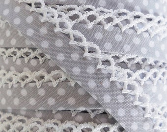 Gray Polka Dot Bias Tape - Crochet Edge Bias Tape - Crochet Lace Trim - Picot Quilt Binding - Double Fold Bias Tape by the Yard