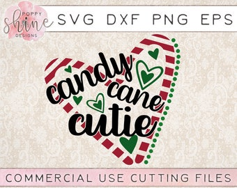 Candy Cane Cutie svg png eps dxf Cutting File for Cricut and Silhouette, Merry Christmas, Santa, Holiday, Believe, Peppermint, Winter, Heart
