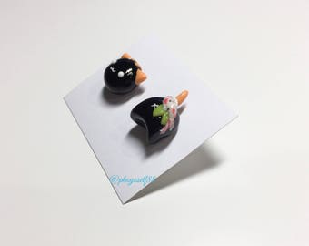 Polymerclay cat earrings with White/Pink/Black Koi fish
