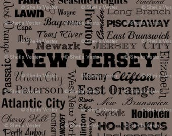 New Jersey cities fabric - by the yard - gray and black - red and black