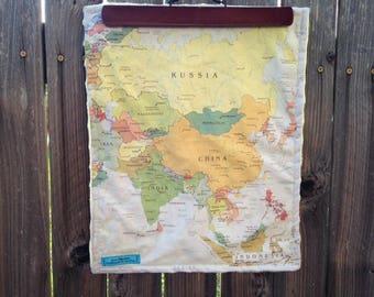 ASIA map blanket - baby minky security blankie - small travel blanky, lovie, lovey, woobie - 13 by 16 inches