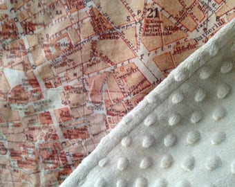 Rome, Italy map minky baby blanket - vintage map cuddle quilt - or shoulder blanket, wheelchair lap blanket - 26 by 41 inches