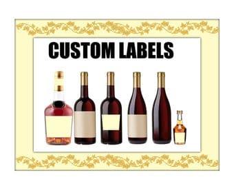 4 labels PRINTED 750 ml custom WATERPROOF label