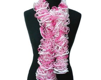 Ladies Pink and White Ruffle Scarf