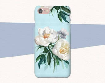 White Flower Phone Case, Blue Floral iPhone Case, iPhone 6 Flower Case, iPhone 7 Plus Case, Floral iPhone Case, iPhone Case Flowers, 6 Plus