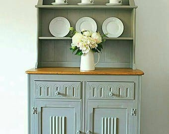 NOW SOLD Farmhouse dresser- vintage  dresser hand painted-farmhouse furniture-cottage style-kitchen dresser-home decor -grey dresser-rustic