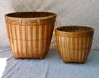 Vintage Peoples Republic of China Wicker Baskets | Woven Wicker Baskets | Wicker Trash Baskets | Blanket Storage | Planter Covers |