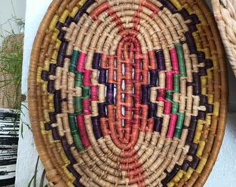 Vintage colorful  straw basket tray