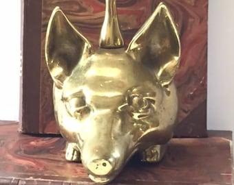 Vintage Brass Fox Head Doorstop.  Virginia Metal Crafters. Door stop. Hunt Theme. Equestrian.