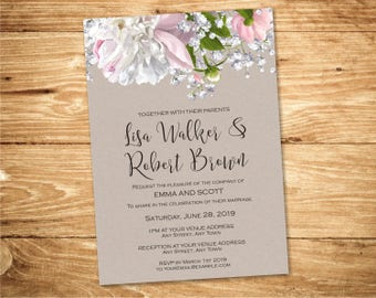 Floral Wedding Invitation Printable / Country Wedding Invites Bloom Shabby Chic Wedding DIY Template Download - Design ID: 08-47A