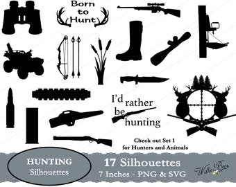 Hunting Silhouettes - 7 inches - PNG & SVG files - Hunter - Hunting svg - Rifle - atv - Tree Stand - Bullet - Scope - INSTANT Download