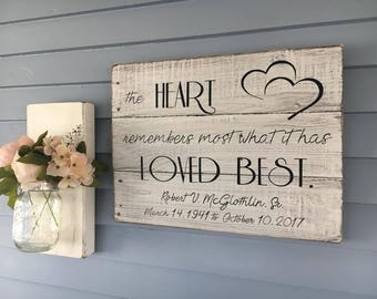 Memorial Sign, Rustic Memorial Sign, The Heart Remembers Most What is has Loved Best, Memorial Plaque, Loss of a Loved One, Memorial Gift