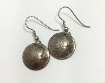 Silver coin earrings, silver dime earrings, mercury dime jewelry, 90% silver, mercury dimes, concho earrings, gift for her, TheOSB
