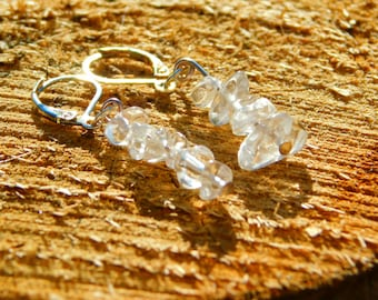 Clear quartz chips  handmade drop earrings