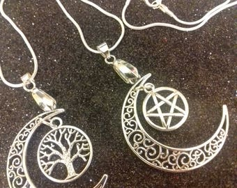 Crescent moon necklace/ 925 sterling silver necklace/wiccan necklace