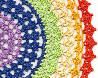 Crochet Doilies, Cotton Doily, Mandala, Room Decor, Wedding Doily, Napkin, Boho Bohemian Decor, Round Rainbow Doilies, Lace, Home Decor