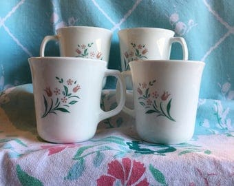 4 Vintage Corningware Rosemarie Coffee Cups
