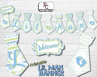 Printable 'Welcome Lil Man' Tie Banner for Baby Boy Shower