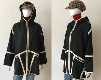 Vintage rain poncho / vintage raincoat / hooded rain jacket / 90s raincoat / black windbreaker / vintage windbreaker / 90s clothing