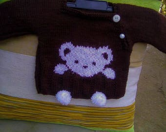 Baby Sweater Cute Bear with Pom-poms and Buttons