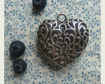 1 large HEART pendant. 51x50x17mm. Lead-Free Alloy. Antique Silver tone. Jewelry Making and Art & Craft Supply