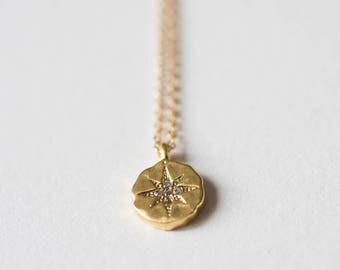 Necklace with Gold filled Medal and Zirconium