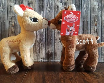 Personalized Rudolph & Clarice stuffed reindeer - Personalized Reindeer plush - Personalized reindeer - Rudolph and Clarice