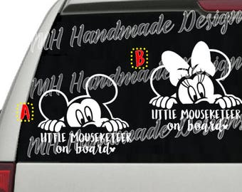 Mickey OR Minnie - Little Mouseketeer on board Decal
