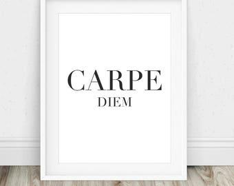 Carpe Diem - Carpe Diem Sign, Carpe Diem Print, Carpe Diem Poster, Carpe Diem Printable, Carpe Diem Quote, Carpe Diem Wall Art