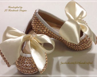 Shoes with Gold embellished crystals