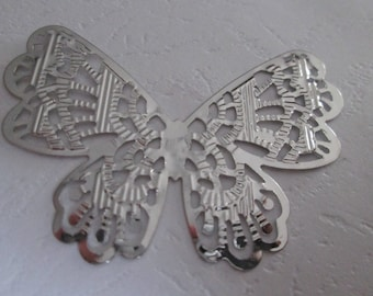 prints 2 / 62 x 47 mm silver filigree Butterfly connectors