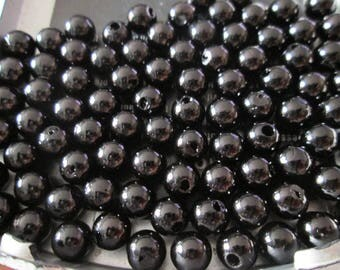 10 black acrylic beads 6 mm imitation pearls