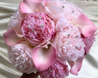 Brides Wedding Posy bouquet, Luxury pink peony roses with calla lillies and diamante