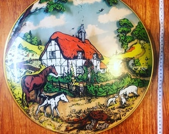 1960s Vintage Domed Wall Plaque with Kitsch Farm Cottage Scene