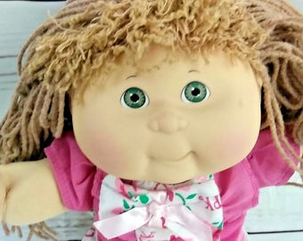 1992 Habro Cabbage Patch Crimp and Curl Small Doll Girl Brown Hair Green Eyes