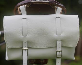 Large Genuine Leather Bicycle Bag Saddle Handlebar in WHITE