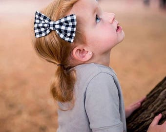 Baby Girl classic Bow Headband - Nylon Headbands - Hair clip - Infant / Toddler /  Fabric Hair Bows / Clips - black and white checks