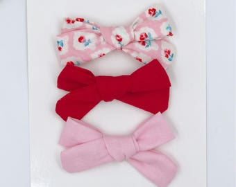 Baby Girl hand tied Bow set - Nylon Headbands - Hair clip - Infant / Toddler /  Fabric Hair Bows / Clips - vintage rose / light pink / red