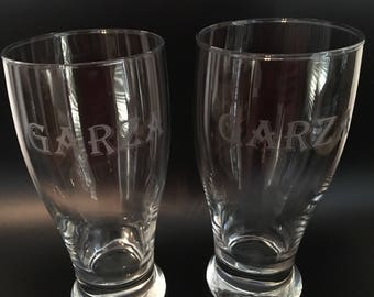 SET of 4: Etched Pint Glasses and Whiskey glasses