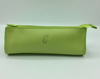 Drop green leather case