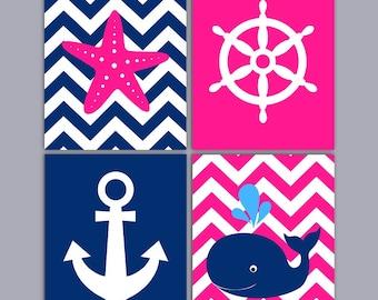 Pink Nautical Nursery Art - Chevron Nursery Art - Anchor Starfish