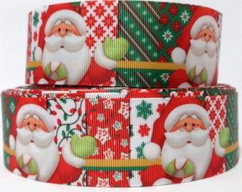 "GROSGRAIN RIBBON 7/8"" Santa Claus Chistmas S68 By the Yard"
