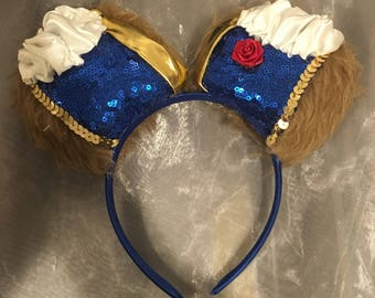 Beast from Beauty and the Beast Inspired Mouse Ears! Handmade Sewn & Stuffed- Fits Child to Adult