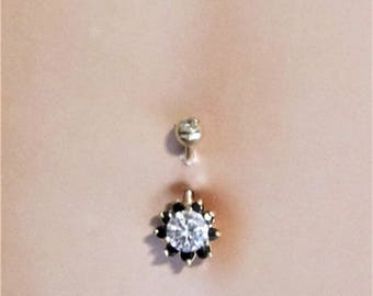 14K and 10k Solid Gold Black & White Flower Belly Ring..14g..10mm(Sale)