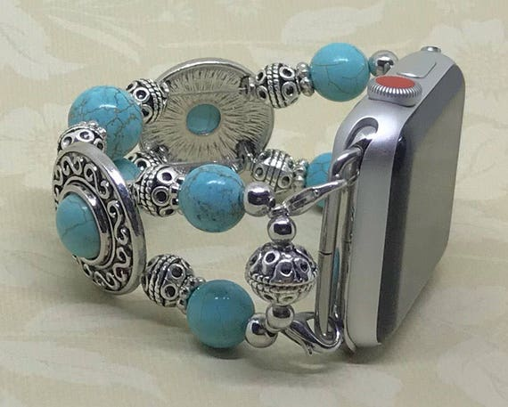 """Apple Watch Band, Women Bead Bracelet Watch Band, iWatch Strap, Apple Watch 38mm, Apple Watch 42mm, Turquoise Blue Silver Size 6 - 6 1/4"""""""