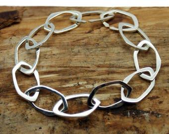 Silver Plated Hexagon Linked Bracelet (TPL014P)